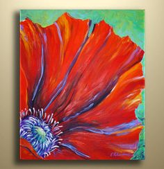 New Original Painting Poppy Flower Abstract by NYoriginalpaintings, $60.00