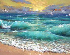 Golden Sunset espátula óleo sobre lienzo por Dmitry por spirosart