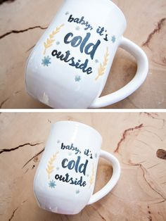Baby it's cold outside handmade coffee mug. Perfect for everyday use! The beautiful design is hand painted in black, gold and silver colors. - Holds approximately 14-16 ounces - White stoneware - Food safe - Microwave safe - Dishwasher safe