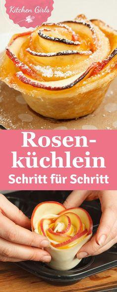 Kleine Rosen-Küchlein selber machen: ihr braucht nur Blätterteig, Äpfel und etwas Gelee. Süsses Rezept backen mit Kindern, Familienküche. Anleitung