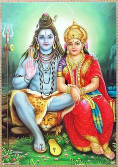 Shiva Sitting with Parvati - Hindu Posters (Reprint on Paper - Unframed) Shiva Parvati Images, Shiva Hindu, Shri Ganesh, Shiva Art, Hindu Deities, Lord Ganesha, Hindu Art, Durga, Hanuman Images