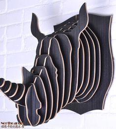 wall hanging Wooden carved Rhino head home by DiyCraftProject, €109.00