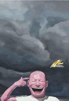 contemporary chinese artist Yue Minjun, avian flue on ArtStack #yue-minjun-yue-min-jun #art