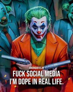 Joker Quotes #Jokerquotes #Quotes Best Joker Quotes, Best Quotes, Real Life, Social Media, Fictional Characters, Qoutes, Deep, Random, Quotations