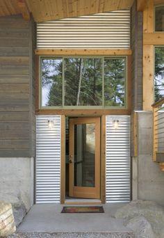 Wood siding, galvalum, concrete, windows, wood trim