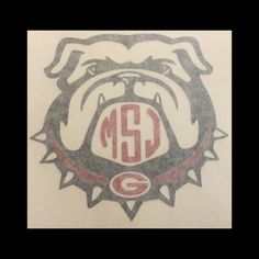 Uga Monogram Bulldog Decal University Of By