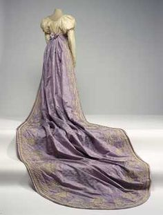Court Manteau: ca. 1810, silk satin-lined moiré silk with woven pattern, embellished with velvet, chenille embroidery, beads