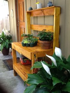 For a weekend project my husband and I built this potting bench out of…