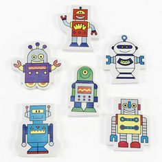 Robot Erasers.  These robots compute fun! In a variety of cool designs, they'll help make your next Robot Themed Party fun!  set of 12 assorted erasers; 5.08cm