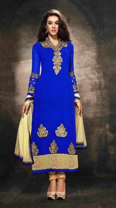 Classy Blue Georgette Party Wear Salwar Kameez With Cream Dupatta