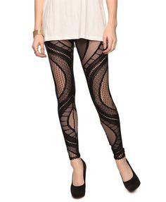 Look 3: Lace Pattern Leggings / F21 $12.80