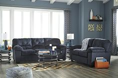 Dailey Contemporary Midnight Color Sofa And Loveseat ** Click image for more details. (This is an affiliate link) #LivingRoomFurnitureSets