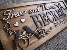 Personalized Couples Name Signs custom Wedding gift Love Birds CARVED Wooden Last name Sign Established Anniversary personalized sign