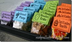 Next stuff the bags with your treats! Witches Warts = Chocolate Chips  Marshmallows = Ghost Poop  Cinnamon Toast Crunch cereal = Monster Sc...