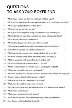 A great list of questions to ask your boyfriend! Claire Girolt A great list of questions to ask your boyfriend! A great list of questions to ask your boyfriend! Cute Relationships, Healthy Relationships, Relationship Tips, Marriage Tips, Relationship Questions Game, Distance Relationship Quotes, Relationship Challenge, Boyfriend Quotes Relationships, Quotes Marriage