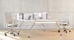 Contemporary workplace with ID Chairs and Ad Hoc Table.