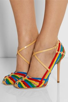 Charlotte Olympia | Mariachi leather and suede pumps | NET-A-PORTER.COM