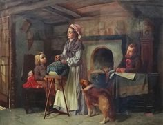 """Lot 167: Thomas #Faed (1826-1900) R. A. Oil on canvas, The #Lace Maker , demonstrating how an extra income can be gotten in a cottage interior, Signed and dated '1850' lower right with label under , 28 x 36"""", In a Watts type frame with glazed image, Comes together with :book entitled ' Lace in the Making with Bobbins and Needle ' by Margaret L Brooke and 18 thC engraving Rene Gaillard ( 1719-17190) after Johann Eleazar Zeissig known as Schenau (1737-1805), ' L'Ouvriere en Dentelle ' ."""