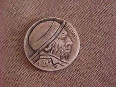 Carved Hobo Nickel 1927 Classic Hat Hobo Folk Art Coin Ohns Member RM 1304   eBay Hobo Nickel, Classic Hats, Folk Art, Buffalo, Coins, Carving, Personalized Items, Ebay, Popular Art