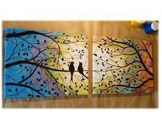 cuadros tripticos arbol de la vida y pajaros pintados a mano Picture On Wood, Valentines, Birds, Landscape, Canvas, Artwork, Pictures, Image, Alonso