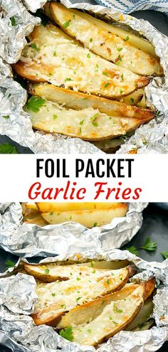 These easy fries are cooked in foil packets for minimal clean-up. These easy fries are cooked in foil packets for minimal clean-up. Foil Packet Dinners, Foil Pack Meals, Foil Dinners, Foil Packets, Garlic Parmesan Fries, Fried Garlic, Garlic Cheese, Grilling Recipes, Cooking Recipes