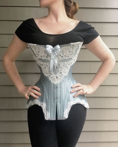 """""""Something Blue"""" Edwardian Corset Vintage Corset, Vintage Lingerie, Corset Costumes, Lace Tights, Waist Training Corset, Couture, Womens Fashion, Gothic Fashion, Sexy"""