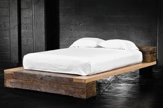 diy beam platform bed   White Leirvik Bed Frame ($100): First, a classic (and extremely ...