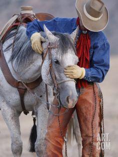 Cowboy Leading and Stroking His Horse, Flitner Ranch, Shell, Wyoming, USA-Carol Walker-Photographic Print Cowboy Horse, Cowboy And Cowgirl, Horse Riding, Real Cowboys, Cowboys And Indians, Cowboy Pictures, Horse Pictures, Cowboy Pics, Cow Girl