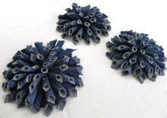 DIY Denim Fabric Flowers with tutorial / missparty.net