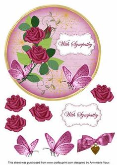 Cerise Rose With Sympathy 7in Circle Decoupage Topper on Craftsuprint - Add To Basket!