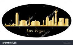 Las Vegas Skyline Gold Stock Vector Illustration 197186522 ...