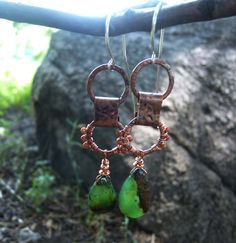 OOAK asymmetrical earrings with chrysoprase teardrop and goldstone / Metalsmith copper jewelry green by ViolinDesign on Etsy