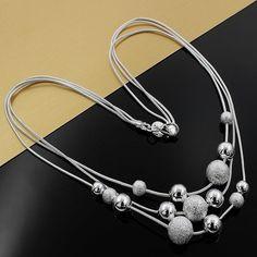 Belas charme jóias de prata banhado bead colar clássico de alta qualidade acessórios de moda presente ao preço de atacado direto N020