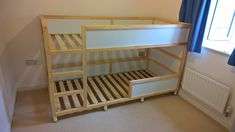 Trofast & Stuva Bed Hack IKEA Kura bed with nice raised lower bunk.IKEA Kura bed with nice raised lower bunk. Cama Ikea Kura, Cama Murphy Ikea, Trofast Ikea, Murphy Bed, Murphy-bett Ikea, Ikea Bed, Ikea Bunk Bed Hack, Ikea Kura Hack, Toddler Bunk Beds