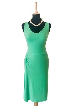 conDiva Bright Green Tango Dress with Slits and Open Back