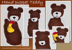 crochet pattern amigurumi hand puppet teddy by MOTLEYCROCHETCREW, $5.00