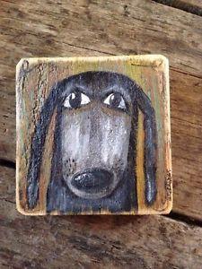 Rover The Dog Rustic Original Folk Art Painting Illustration Prim A Gambrel | eBay