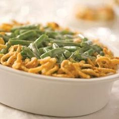 Green Bean Casserole -- Ingredients: 1 (10 3/4 oz.) can Cream of Mushroom Soup, 3/4 cup milk, 1/8 tsp. black pepper, 2 (9 oz. each) pkgs. frozen cut green beans thawed, 1 1/3 cups FRENCH'S® Original or Cheddar French Fried Onions -- Instructions: 1) MIX soup, milk and pepper in a 1 1/2 -qt. baking dish. 2) Stir in beans and 2/3 cup French Fried Onions. 3) BAKE at 350°F for 30 min. or until hot. 4) STIR. 5) Top with remaining 2/3 cup onions. 6) Bake 5 min. until onions are golden.
