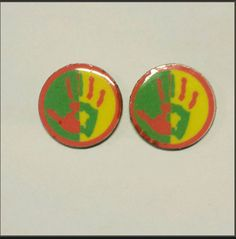 Check out this item in my Etsy shop https://www.etsy.com/listing/175417406/wood-disk-stud-earrings-high-five-print