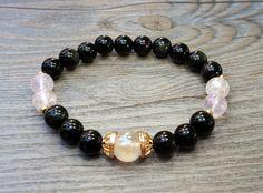 Bracelet de guérison de pierres fines Quartz aura rose angel et obsidienne noire de la boutique BijouxDesignselect sur Etsy