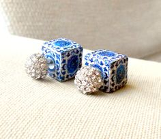 Portugal FRONT BACK EARRINGS Antique 16th Century Azulejo by Atrio