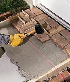 We'll teach you the steps for building a mortared brick walkway, plus explain the important differences between building a brick path and building a brick patio. Brick Paving, Brick Walkway, Brick Path, Outdoor Walkway, Backyard Patio, Patio Design, Garden Design, Earth Bag Homes, Brick Patterns Patio