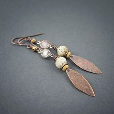 Long Tribal Rustic Earrings Hammered Oxidized Copper Drop