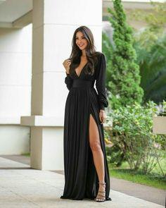 121 black wedding dresses with edgy elegance-page 26 Maxi Dress Wedding, Black Wedding Dresses, Elegant Dresses, Pretty Dresses, Beautiful Dresses, Casual Dresses, Fashion Dresses, Bridesmaid Dresses, Formal Dresses