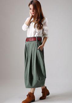 Long linen skirt green skirt women Bud skirt by xiaolizi