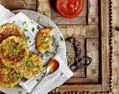 "Pan-fries potato cakes: Recipe by Atul Kochhar, photo by Andrew Montgomery for ""Jamie Magazine' (issue 23) #recipe #potato #tomato"