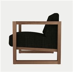 Teak Square Root Chair with Belgian linen upholstery