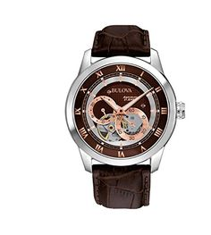"""Last minute Valentine's Day gift shopping for HIM! Bulova Self-Winding Watch Stainless Steel Bulova """"Automatic"""" Watch with Rose Gold Accents, Roman Numeral Hour Markers and Brown Leather Strap, Style # Automatic Skeleton Watch, Automatic Watches For Men, Bulova Mens Watches, Men's Watches, Jewelry Watches, Wrist Watches, Brown Leather Strap Watch, Skeleton Watches, Bracelet Cuir"""