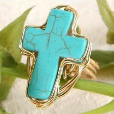 New Women Fashion Jewelry Vintage Style Cross Turquoise Gold GP Ring Size 7.5