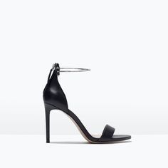 ZARA - WOMAN - LEATHER HIGH HEEL SANDAL WITH ANKLE STRAP